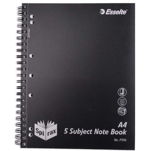Spirax P596 Polypropylene 5 Subject Notebook A4 - Black