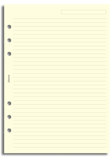 Filofax - A5 Lined Notepaper - Cream (25 Sheets)