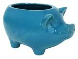 Ceramic Piggy Planter - Turquoise