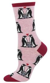 Socksmith: Women's Penguin Love Crew Socks - Pink Heather