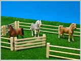 Wooden Fences & Gate (6 pieces) 1:32 Scale