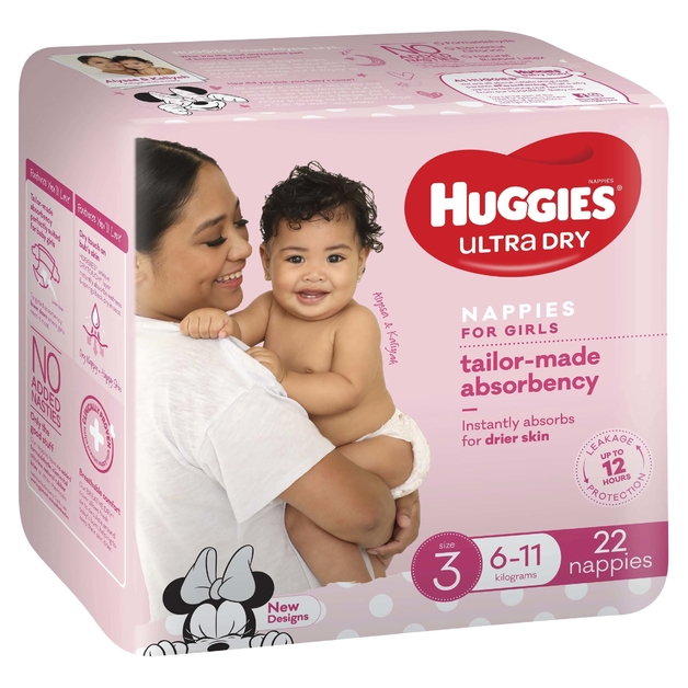 Huggies Ultra Dry Nappies - Size 3 Crawler Girl (22)