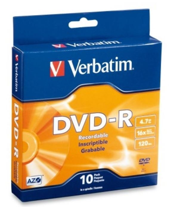 Verbatim DVD-R 4.7GB Spindle 16x (10 Pack)