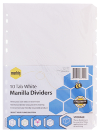 Marbig A4 Manilla 10 Tab Dividers with Reinforced Strip - White