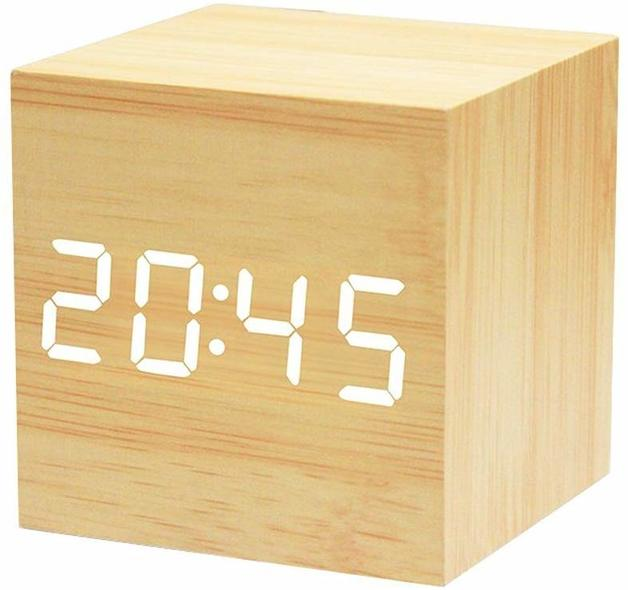 Wooden Grain Digital Voice Control Desk Alarm Clock - Bamboo