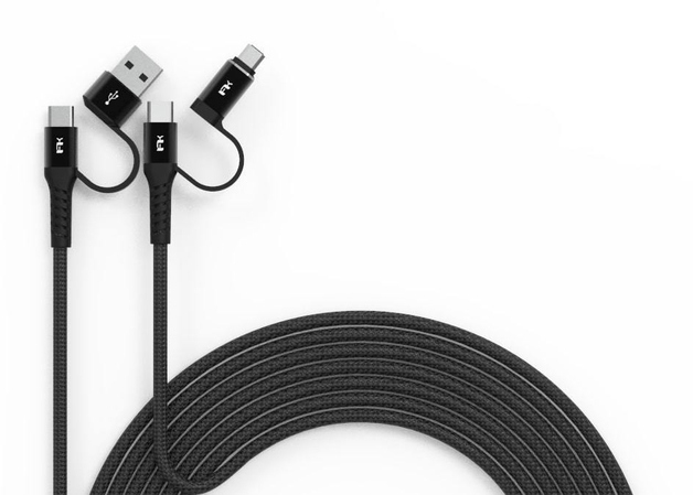 2m Feeltek Android Multi-Plug Braided Fast Charging Cable