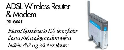 D-Link Wireless  ADSL Router + 4 Port Switch, 54MBPS 802.11G image