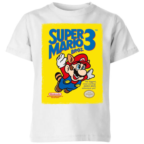 Nintendo Super Mario Bros 3 Kids' T-Shirt - White - 7-8 Years image