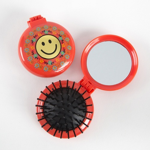 Natural Life: Compact Brush Mirror - Smile Red