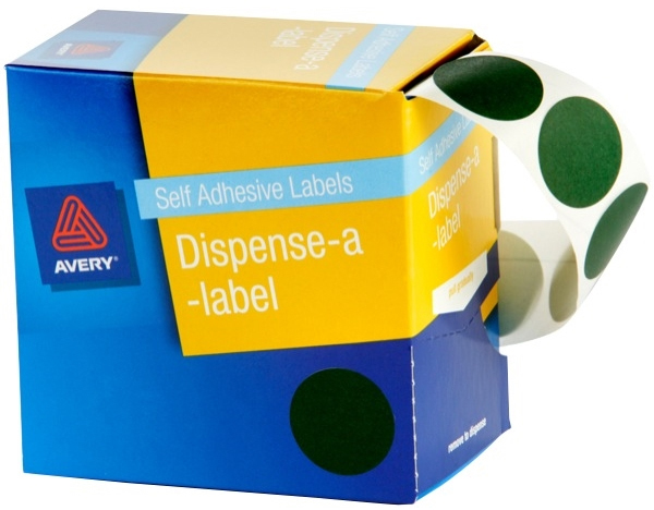 Avery Green 24mm Diameter Circle Dispenser Labels Pkt500