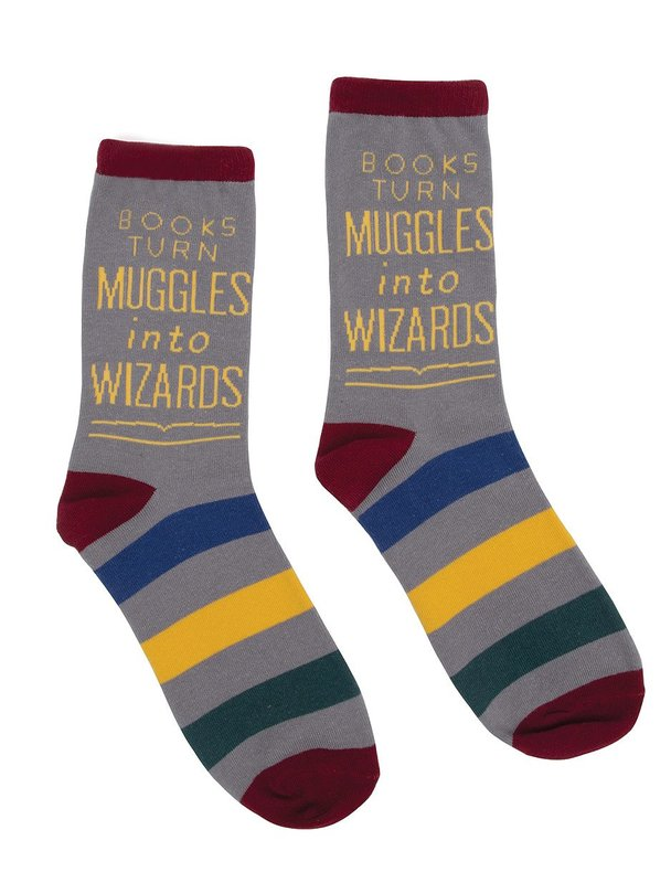 Out of Print: Books Turn Muggles - Men's Crew Socks
