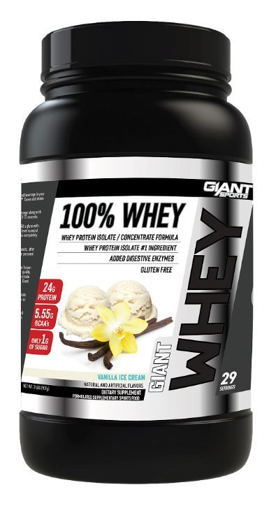 Giant Sports 100% Whey Protein - Vanilla Ice Cream (907g/28 Servings) image