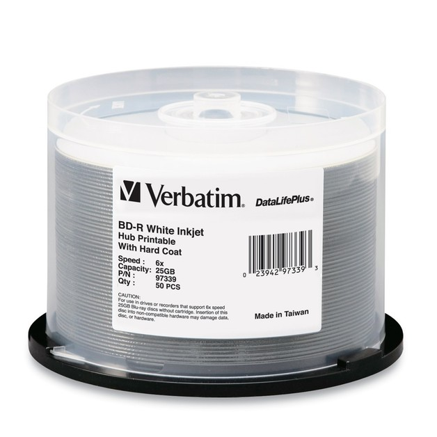 Verbatim BD-R 25GB White Wide Inkjet 6x (50 Pack)