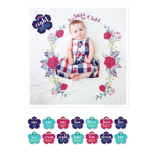 Lulujo: Baby First Year Milestone Blanket & Cards Set - Stay Wild My Child