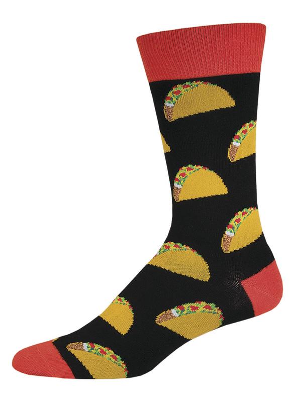 Socksmith: Men's Tacos Crew Socks - Black