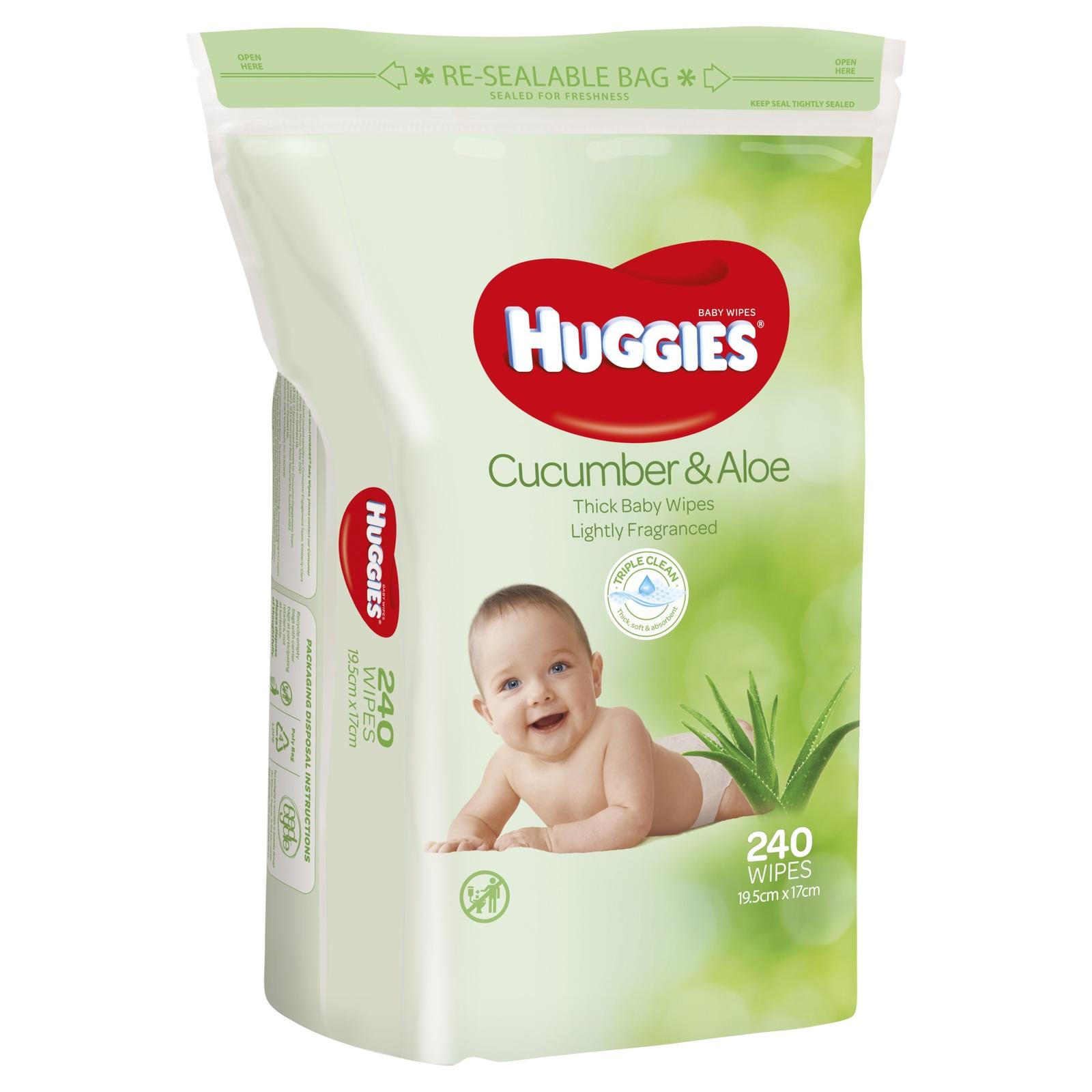 Huggies Baby Wipes - Cucumber & Aloe Jumbo Pack (240 Wipes) image
