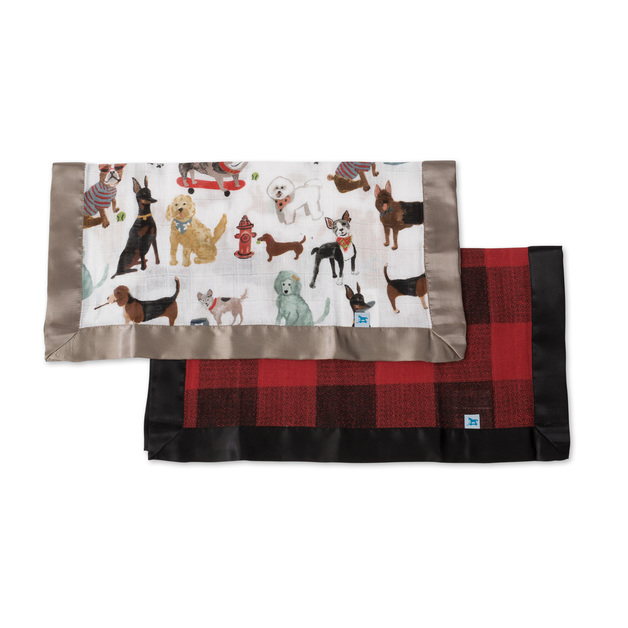 Little Unicorn: Muslin Security Blanket 2 Pack - Woof & Red Plaid