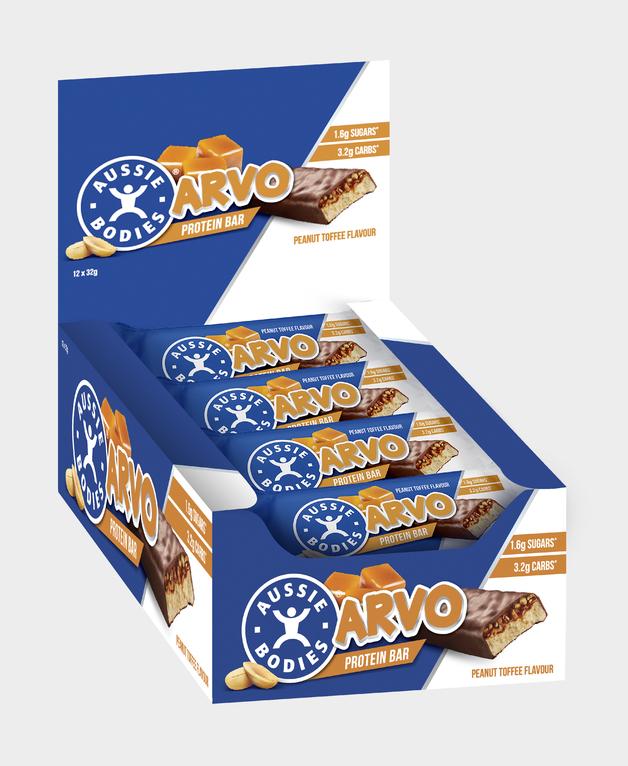Aussie Bodies Arvo Protein Bars - Peanut Toffee (Box of 12)