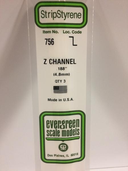 """Evergreen Styrene Z 35cm .188"""" X .094"""" X .026"""""""