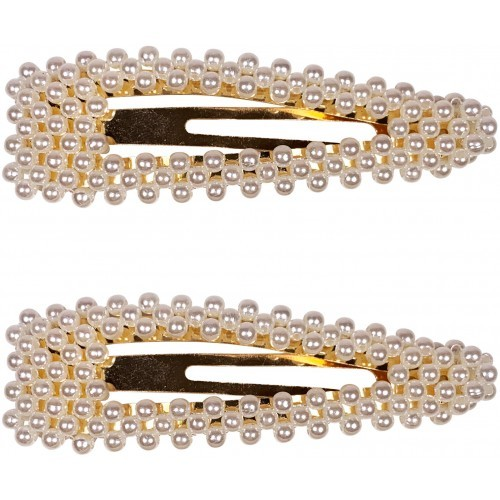 Pearl Gold Oval Hair Clip
