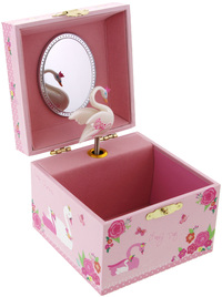 Pink Poppy Swan Princess Small Music Box - Pale Pink