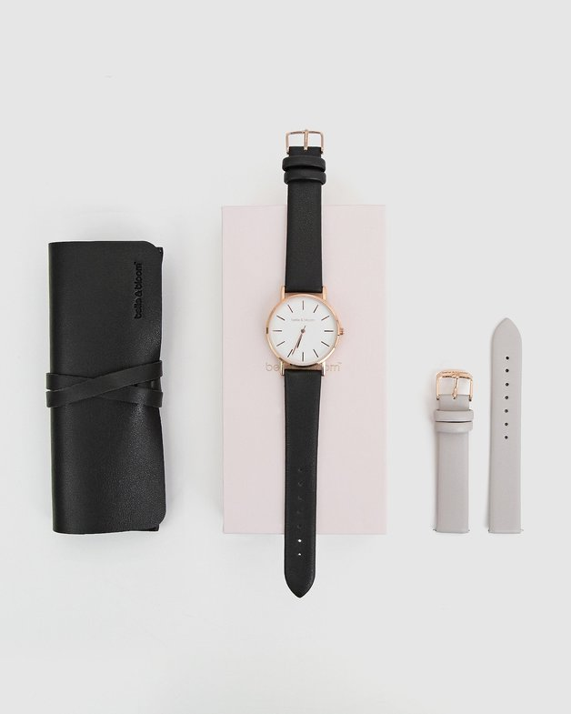 Belle and Bloom: Lafayette Love Watch Gift Set - Black/Grey
