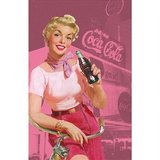 Coca Cola Pin Up Girl Tea Towel Pink
