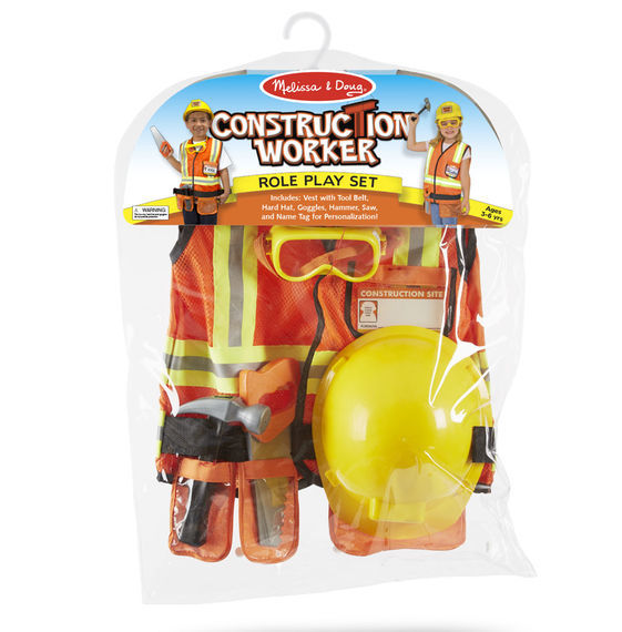 Melissa & Doug: Construction Worker Costume Role Play Set image
