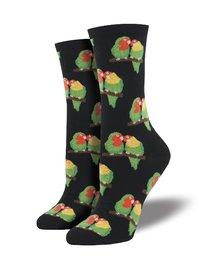 Womens - Black Couple Of Lovebirds Crew Socks