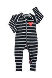 Bonds Zip Wondersuit Long Sleeve - Black/Arielle (0-3 Months)