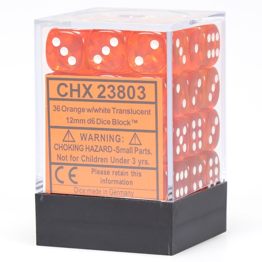 Chessex Signature 12mm D6 Dice Block: Orange & White Translucent image