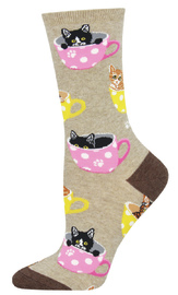 Socksmith: Women's Cat-Feinated Crew Socks - Hemp Heather