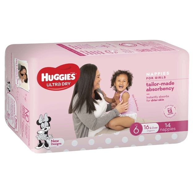 Huggies Ultra Dry Nappies - Size 6 Junior Girl (14)