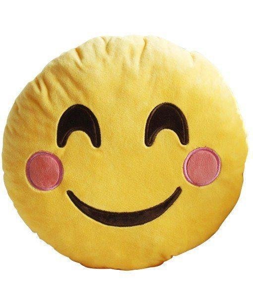 Smiling Face Emoji with Blushed Cheeks Cushion - 34cm