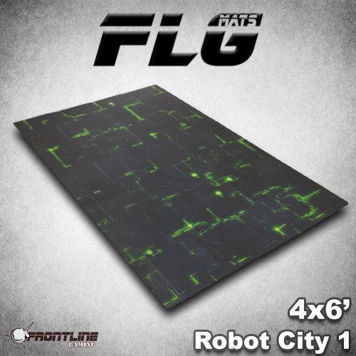 FLG Robot City 1 Green Neoprene Gaming Mat (6x4)