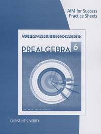 Prealgebra, AIM for Success Practice Sheets by Richard N Aufmann