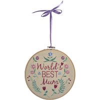 World's Best Mum Embroidered Roundel