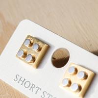 Short Story: Funky Play Earrings - Gold Lego