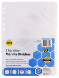 Marbig A4 Manilla 5 Tab Dividers with Reinforced Strip - White