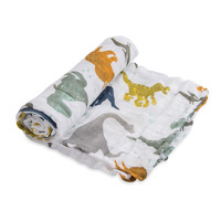Little Unicorn: Cotton Muslin Swaddle - Dino Friends (Single)
