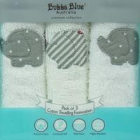 Bubba Blue: 3pc Facecloth Set - Petit Elephant