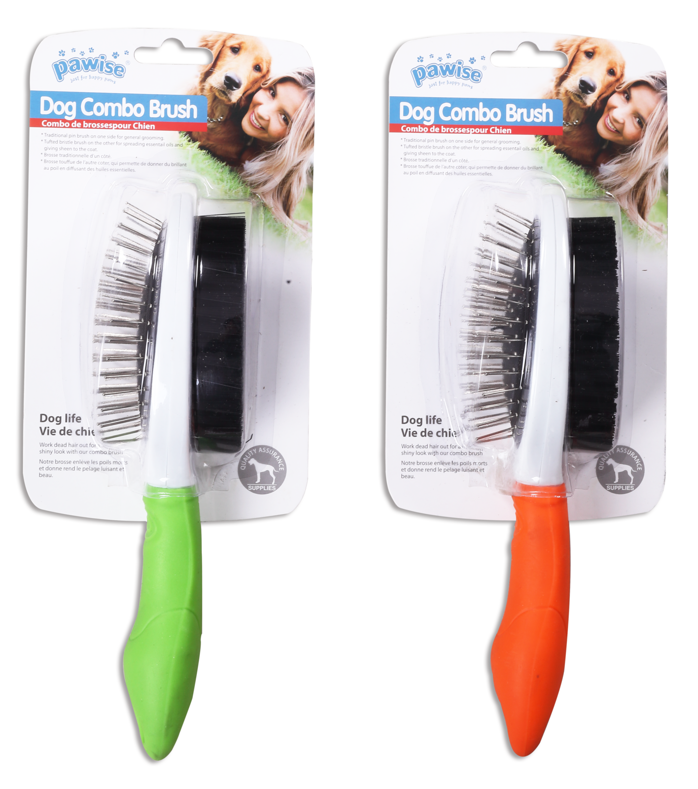 Pawise: Dog Double Brush - 23.5x6.5 cm image