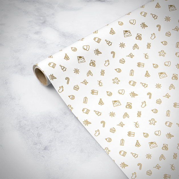 Gorilla Gift: Wrapping Paper - Christmas White (5m)