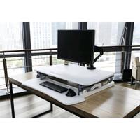 Gorilla Office: Ergonomic Deskalator White (890 x 590mm) Height Adjustable Workstation