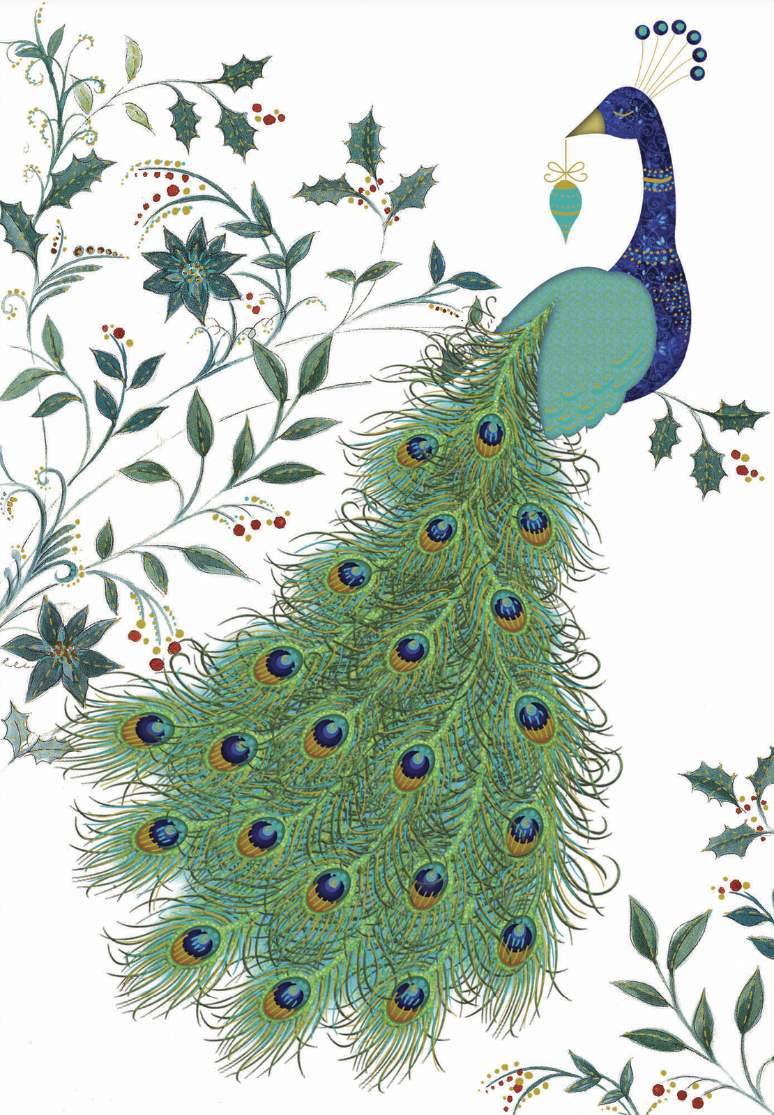 Premium Boxed Christmas Cards - Peacock Plume (8 Pack) image