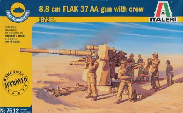 Italeri 1/72 8.8 cm. FLAK 37 AA Gun - Scale Model
