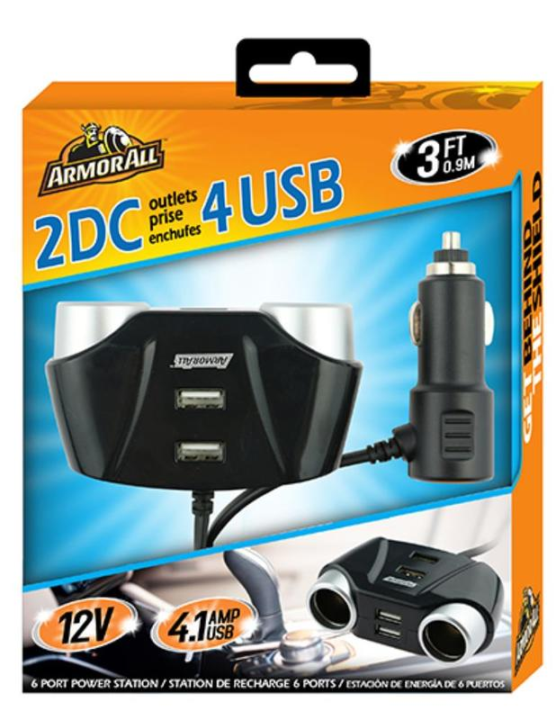 Armor All: 12V Car Charger with 2 DC & 4 USB Ports