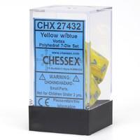 Chessex: Polyhedral Dice Set Vortex Dice Set - Yellow/Blue