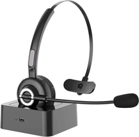 Wireless Headphones with with Microphone and Charging Base - Black