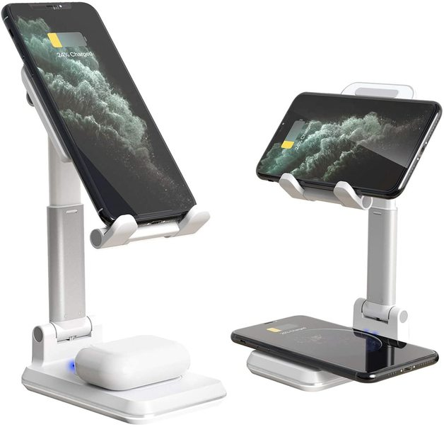 2-in-1 Dual Wireless Charging Stand - White